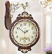 KHSKX Kreative Königin retro garten kunst clock clock clock Doppelseitige Uhr,b