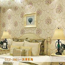 KHSKX-Retro - Vlies Tapete, Wohnzimmer Hintergrund Wand, Europäischen Stil Garten Bronzierens, Große Blume Schlafzimmer Tapete,E