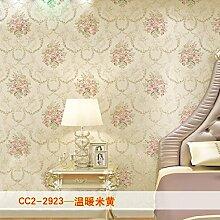 KHSKX-Retro - Vlies Tapete, Wohnzimmer Hintergrund Wand, Europäischen Stil Garten Bronzierens, Große Blume Schlafzimmer Tapete,F