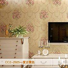 KHSKX-Retro - Vlies Tapete, Wohnzimmer Hintergrund Wand, Europäischen Stil Garten Bronzierens, Große Blume Schlafzimmer Tapete,B
