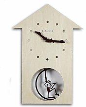 KHSKX Stolz Affe Holz Schaukel, kreative Wohnzimmer Garten Uhren kinder cartoon Massivholz Schautafeln