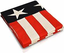 Kinderdecke Barack mit Stars and Stripes Motiv | Öko-Tex zertifiziert | kuschelige Decke aus Baumwolle | Größe wählbar (100x120 cm) Baumwolldecke - Kuscheldecke