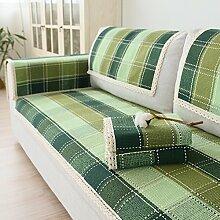 Kissen Baumwolle gewebt Sofa/Einfache grüne Gitter Garten modernen Stoff Sofa Handtuch/ Sofa-A 90x120cm(35x47inch)