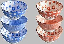 Kombi Service CHINA Tafel Service Geschirrserie Geschirr Set Porzellan Bunt (6 x Streifen, Schüssel (BLAU))