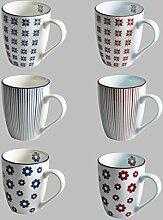 Kombi Service CHINA Tafel Service Geschirrserie Geschirr Set Porzellan Bunt (6 x Raute, Kaffebecher KLEIN (Rot)