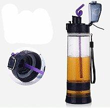 Kunststoff Sport Wasserflasche Creative trinken Flasche Wasser Filter Flasche Kaffee-Haferl 600ml Home Cafe Outdoor-Büro , 501-600ml