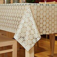 Kunststoff Tischdecke,Der Stil Von Einweg PVC Tischset Wasserdicht Und Öl,Rechteckigen Garten Spitzen Tischdecke-D 137x180cm(54x71inch)