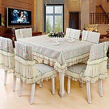 Ländliche Tischdecke,Der Stil Der Garten Tischdecke,Kissen Und Bezüge Für Die Stühle,Europäische Spitze Couchtisch Tuch Stuhl Stuhl Stuhl Sets-C 110x160cm(43x63inch)