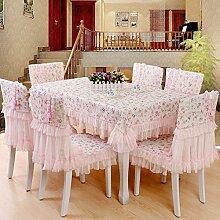 Ländliche Tischdecke,Der Stil Der Garten Tischdecke,Kissen Und Bezüge Für Die Stühle,Europäische Spitze Couchtisch Tuch Stuhl Stuhl Stuhl Sets-D Durchmesser200cm(79inch)