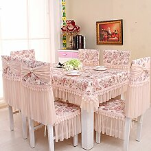 Ländliche Tischdecke,Der Stil Der Garten Tischdecke,Kissen Und Bezüge Für Die Stühle,Europäische Spitze Couchtisch Tuch Stuhl Stuhl Stuhl Sets-F Durchmesser180cm(71inch)