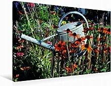 Leinwand Blick in den Garten 90x60cm, Special-Edition Wandbild, Bild auf Keilrahmen, Fertigbild auf hochwertigem Textil, Leinwanddruck, kein Poster