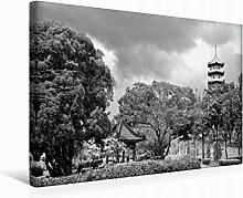 Leinwand Chinesischer Garten 45x30cm, Special-Edition Wandbild, Bild auf Keilrahmen, Fertigbild auf hochwertigem Textil, Leinwanddruck, kein Poster