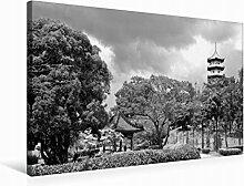 Leinwand Chinesischer Garten 75x50cm, Special-Edition Wandbild, Bild auf Keilrahmen, Fertigbild auf hochwertigem Textil, Leinwanddruck, kein Poster