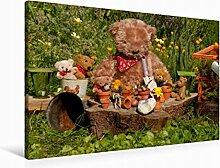 Leinwand Garten-Bär 90x60cm, Special-Edition Wandbild, Bild auf Keilrahmen, Fertigbild auf hochwertigem Textil, Leinwanddruck, kein Poster