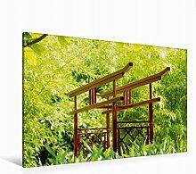 Leinwand Japanischer Garten 120x80cm, Special-Edition Wandbild, Bild auf Keilrahmen, Fertigbild auf hochwertigem Textil, Leinwanddruck, kein Poster