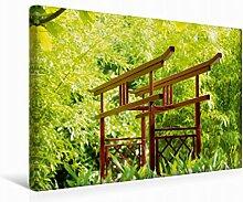 Leinwand Japanischer Garten 45x30cm, Special-Edition Wandbild, Bild auf Keilrahmen, Fertigbild auf hochwertigem Textil, Leinwanddruck, kein Poster