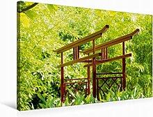 Leinwand Japanischer Garten 75x50cm, Special-Edition Wandbild, Bild auf Keilrahmen, Fertigbild auf hochwertigem Textil, Leinwanddruck, kein Poster