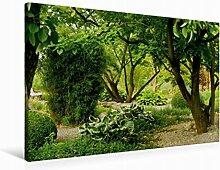 Leinwand Japanischer Garten 90x60cm, Special-Edition Wandbild, Bild auf Keilrahmen, Fertigbild auf hochwertigem Textil, Leinwanddruck, kein Poster