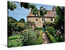 Leinwand Jersey, Idylle Garten 75x50cm, Special-Edition Wandbild, Bild auf Keilrahmen, Fertigbild auf hochwertigem Textil, Leinwanddruck, kein Poster