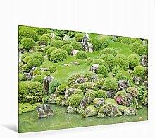 Leinwand Liebevoll gestalteter japanischer Garten mit kunsvoll geformten Bäumen und Büschen an einem Koi-Tei 120x80cm, Special-Edition Wandbild, Bild auf Keilrahmen, Fertigbild auf hochwertigem Textil, Leinwanddruck, kein Poster