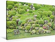 Leinwand Liebevoll gestalteter japanischer Garten mit kunsvoll geformten Bäumen und Büschen an einem Koi-Tei 90x60cm, Special-Edition Wandbild, Bild auf Keilrahmen, Fertigbild auf hochwertigem Textil, Leinwanddruck, kein Poster