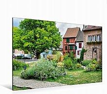 Leinwand Mittelalterlicher Garten 120x80cm, Special-Edition Wandbild, Bild auf Keilrahmen, Fertigbild auf hochwertigem Textil, Leinwanddruck, kein Poster