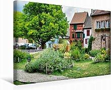 Leinwand Mittelalterlicher Garten 45x30cm, Special-Edition Wandbild, Bild auf Keilrahmen, Fertigbild auf hochwertigem Textil, Leinwanddruck, kein Poster