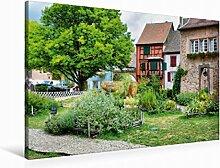 Leinwand Mittelalterlicher Garten 90x60cm, Special-Edition Wandbild, Bild auf Keilrahmen, Fertigbild auf hochwertigem Textil, Leinwanddruck, kein Poster