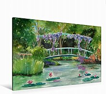 Leinwand Monets Garten 120x80cm, Special-Edition Wandbild, Bild auf Keilrahmen, Fertigbild auf hochwertigem Textil, Leinwanddruck, kein Poster