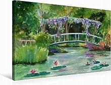 Leinwand Monets Garten 75x50cm, Special-Edition Wandbild, Bild auf Keilrahmen, Fertigbild auf hochwertigem Textil, Leinwanddruck, kein Poster