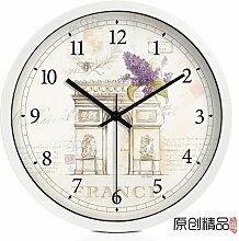 LFNRR Continental Uhren mute moderne Wanduhr das Wohnzimmer Garten Schautafeln, ein 14.