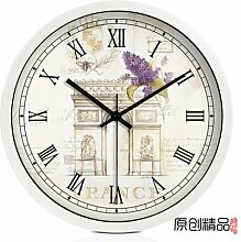 LFNRR Continental Uhren mute moderne Wanduhr das Wohnzimmer Garten Schautafeln, E12