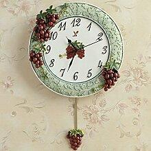 LFNRR Europäische garten antike Traube Wanduhr mute Mode kreativ Wohnzimmer Startseite Uhren Grün Schöne Dekoration