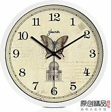 LFNRR Europäischen Silent Wall clock die Uhr Tisch Wohnzimmer moderne Uhr chinesischer Garten Schautafeln, ein 12.