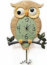 LFNRR Harz Garten ruhige Schlafzimmer Wohnzimmer clock cartoon Kinderschaukel Wanduhr 27*44cm Schöne Dekoration