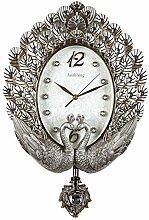 LFNRR Runde Wand charts-Stil einfach und modische Garten Wanduhren Silber Schöne Dekoration