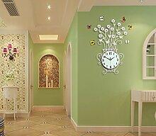 LFNRR Wohnzimmer Modern Creative mute Einfaches kontinentales Wanduhr Garten wind Mode Quarzuhr Weiß Schöne Dekoration