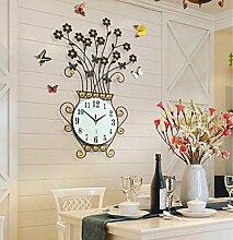 LFNRR Wohnzimmer Modern Creative mute Einfaches kontinentales Wanduhr Garten wind Mode QuarzuhrSchwarz Schöne Dekoration
