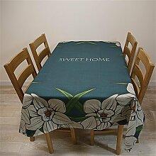 Max Home@ Europäische - Style Tischdecke Chinesischer Garten Blumen Runde Tisch Tisch Tischdecken Baumwolle Leinen Tetabellentuch Tischdecke Druck Tischdecken ( größe : 100*140 Cm )