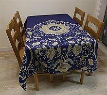 Max Home@ Europäische Tischdecke Chinesische Garten Blumen Blau Runde Tisch Tischdecken Baumwoll Leinen Tee Tischdecke Tischdecke ( größe : 100*140cm )
