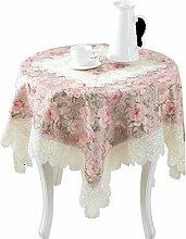 Max Home@ Gestickte Tischdecke runden Tisch im europäischen Stil Garten Spitzenstoff Hohl Platzdeckchen Tischfahne Tischdecken Couchtisch Stuhl ( größe : 130*130cm )