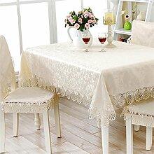 Max Home@ Gestickte Tischdecke runden Tisch im europäischen Stil Garten Spitzenstoff Hohl Platzdeckchen Tischfahne Tischdecken Couchtisch Stuhl ( größe : 60*180cm )
