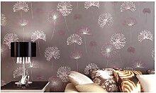Moderne Tapeten Einfache Rosa Löwenzahn Tapete Eco Nonwovens Schlafzimmer Wohnzimmer Voller Tapete,Browncolor-OneSize