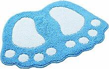 Moolecole Rutschfester Teppichboden Badematte Fußform Schlafzimmer Teppichboden Teppiche Blau