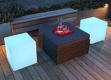 Moree Cube LED Outdoor Sitzwürfel, weiß ABS-Kunststoff mit IR Fernbedienug mit Netzkabel