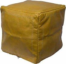 Orientalischer Sitz Pouf aus Leder 40x40cm gelb, Sitzpouf, Sitzwürfel, echte Handarbeit aus Marokko hohe Qualität, verschiedene Farben