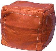 Orientalischer Sitz Pouf aus Leder 40x40cm orange, Sitzpouf, Sitzwürfel, echte Handarbeit aus Marokko hohe Qualität, verschiedene Farben