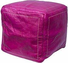 Orientalischer Sitz Pouf aus Leder 40x40cm pink, Sitzpouf, Sitzwürfel, echte Handarbeit aus Marokko hohe Qualität, verschiedene Farben
