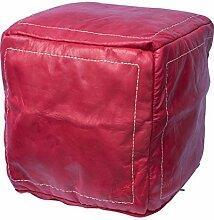 Orientalischer Sitz Pouf aus Leder 40x40cm rot, Sitzpouf, Sitzwürfel, echte Handarbeit aus Marokko hohe Qualität, verschiedene Farben