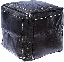 Orientalischer Sitz Pouf aus Leder 40x40cm schwarz, Sitzpouf, Sitzwürfel, echte Handarbeit aus Marokko hohe Qualität, verschiedene Farben